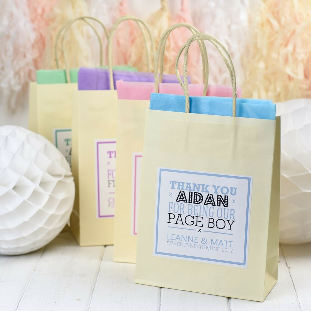 Personalised Wedding Paper Gift Bags : PERSONALISED PAPER WEDDING FAVOUR PARTY GIFT BAGS -IVORY WITH TISSUE ...