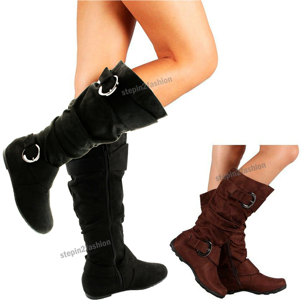 Womens Boots Knee High Faux Suede Flat Boot Fashion Slouch Stylish ...