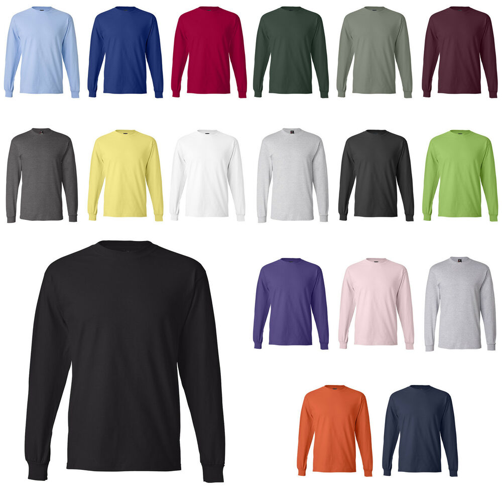Hanes new 100 cotton long sleeve beefy t t shirt 5186 for Mens 100 cotton long sleeve t shirts