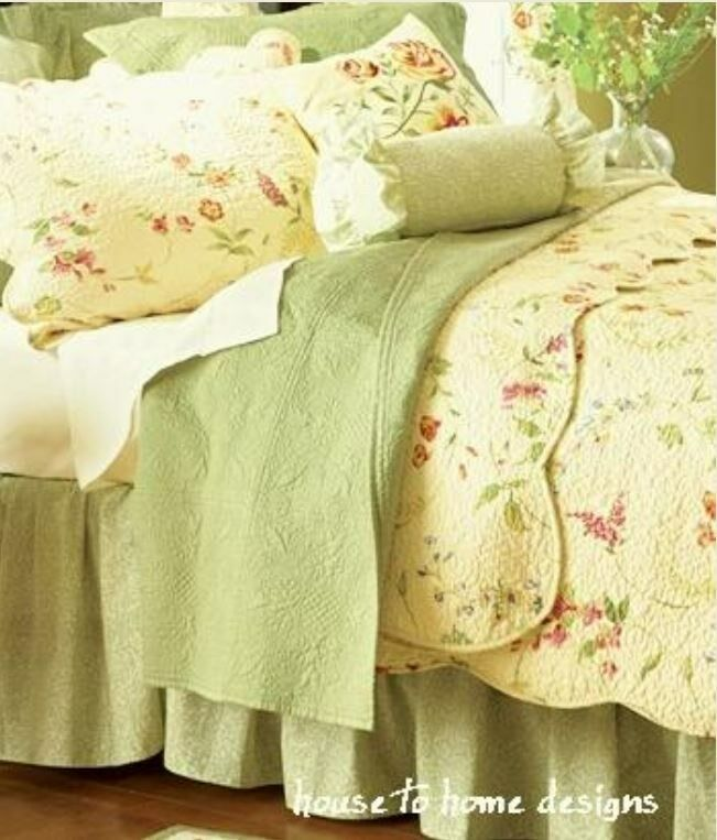 Cottage Yellow Full Queen Quilt Set Floral Girls