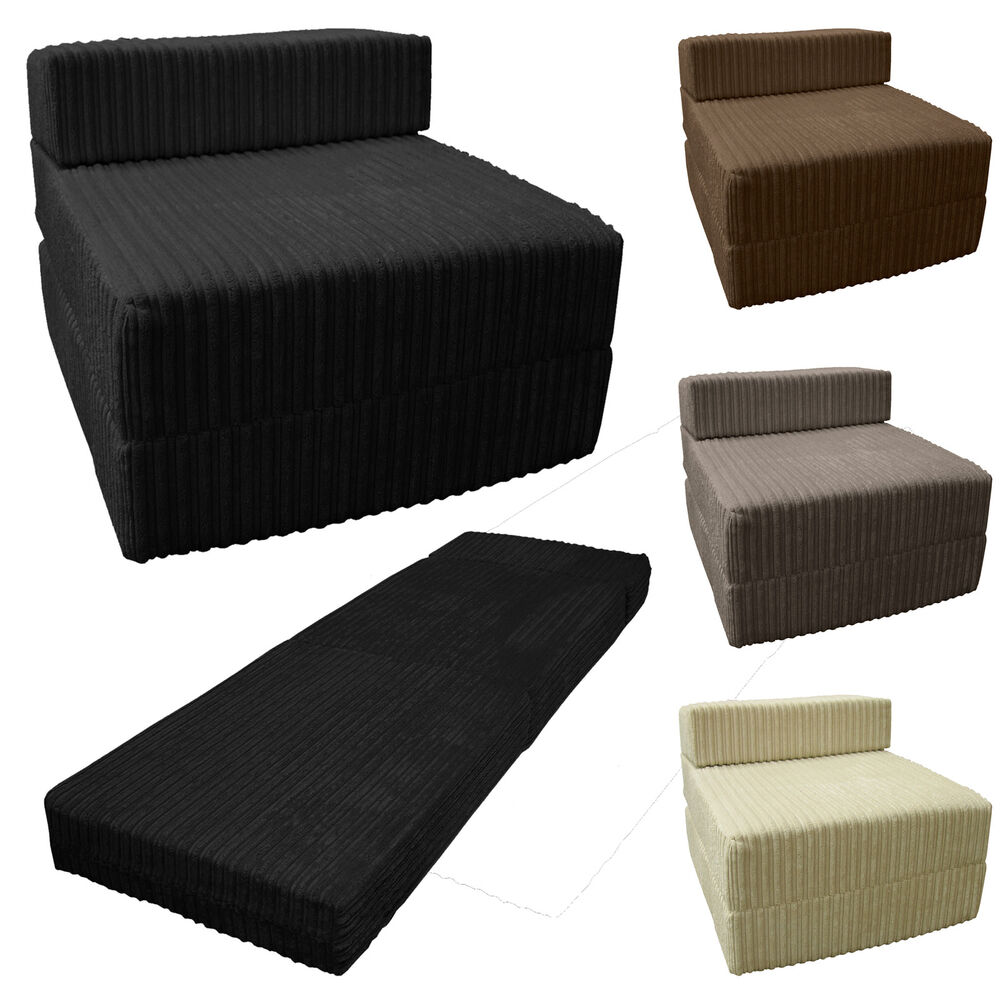 Jumbo cord fold out chair sofa bed z guest folding futon single chairbed gilda ebay Single couch bed