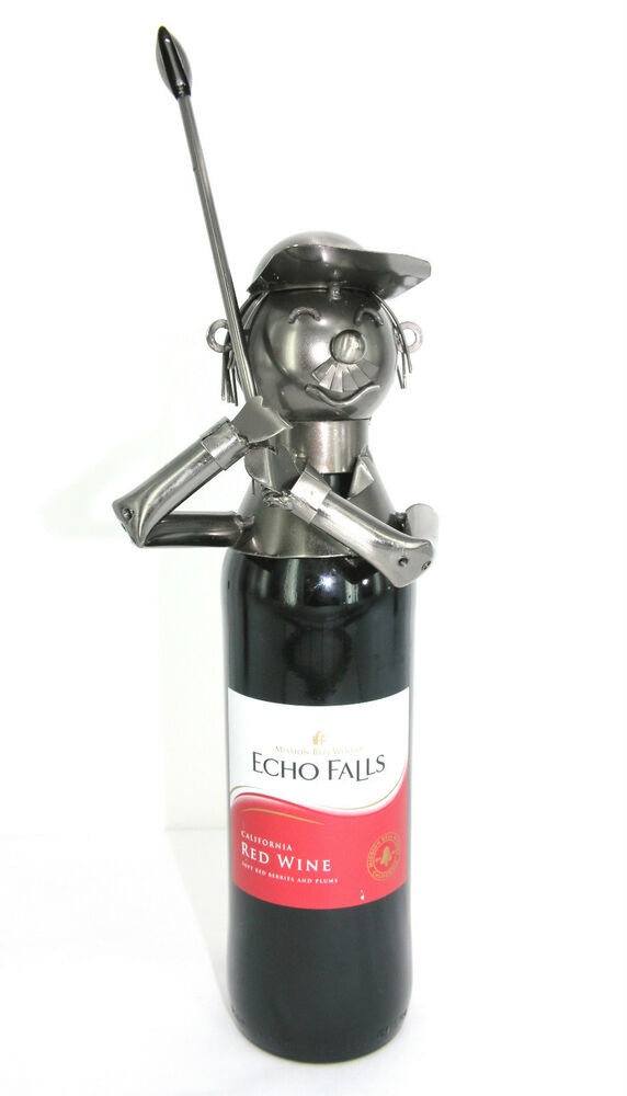 Driving golfer metal wine bottle holder ebay - Wire wine bottle carrier ...