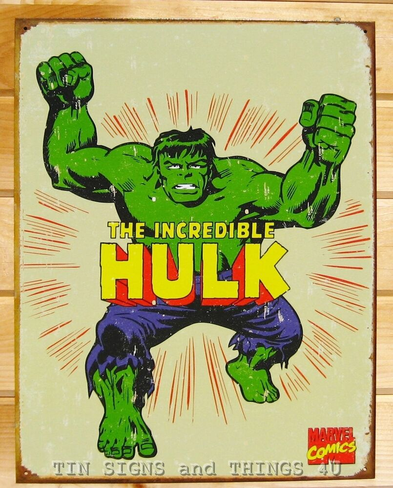The Incredible Hulk Retro TIN SIGN vtg metal wall decor marvel comic ...