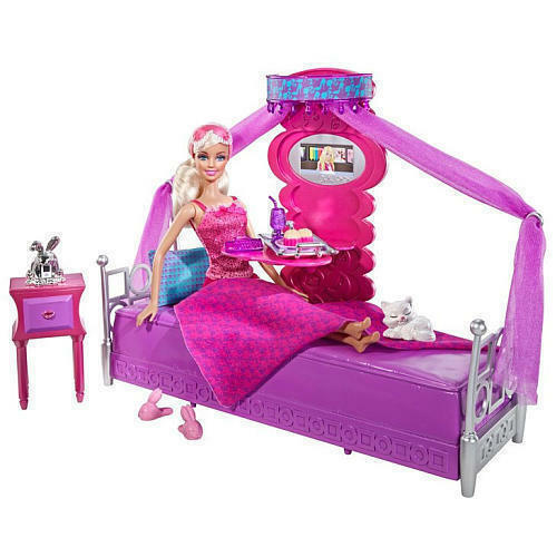 Barbie bed to breakfast bedroom furniture gift set doll for Chambre poussin toys r us