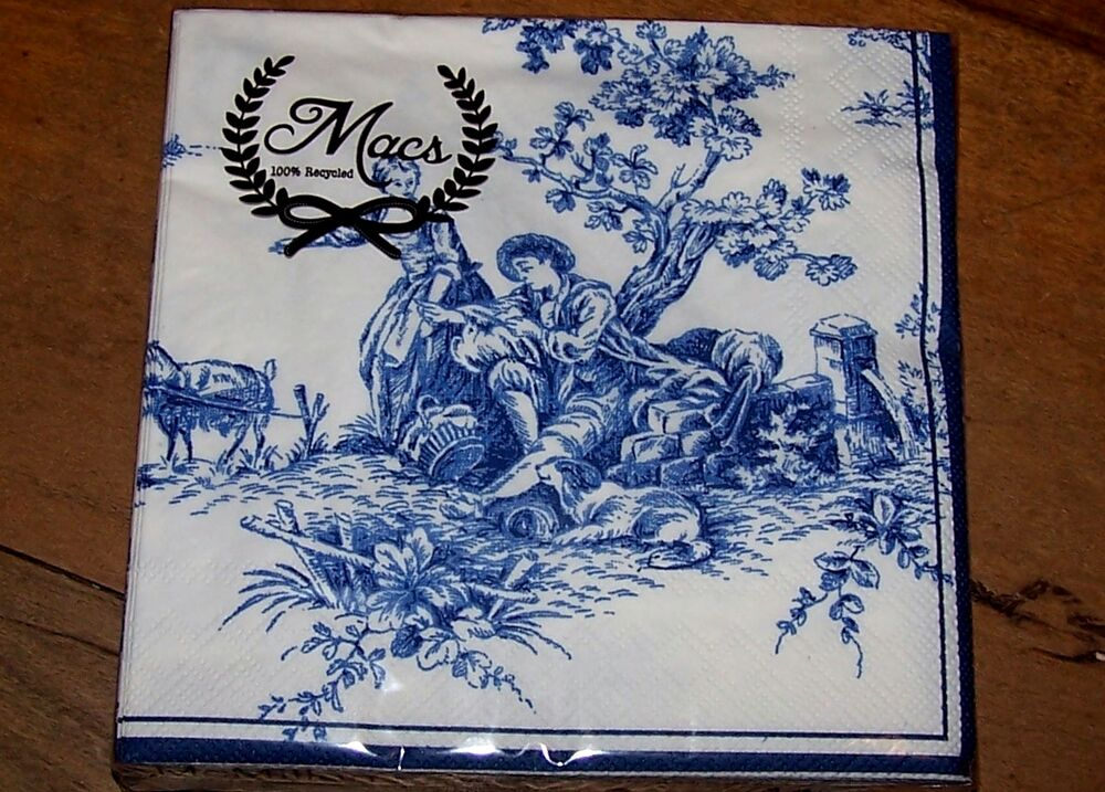 French Country Toile 20 Paper Napkins Serviette Blue And