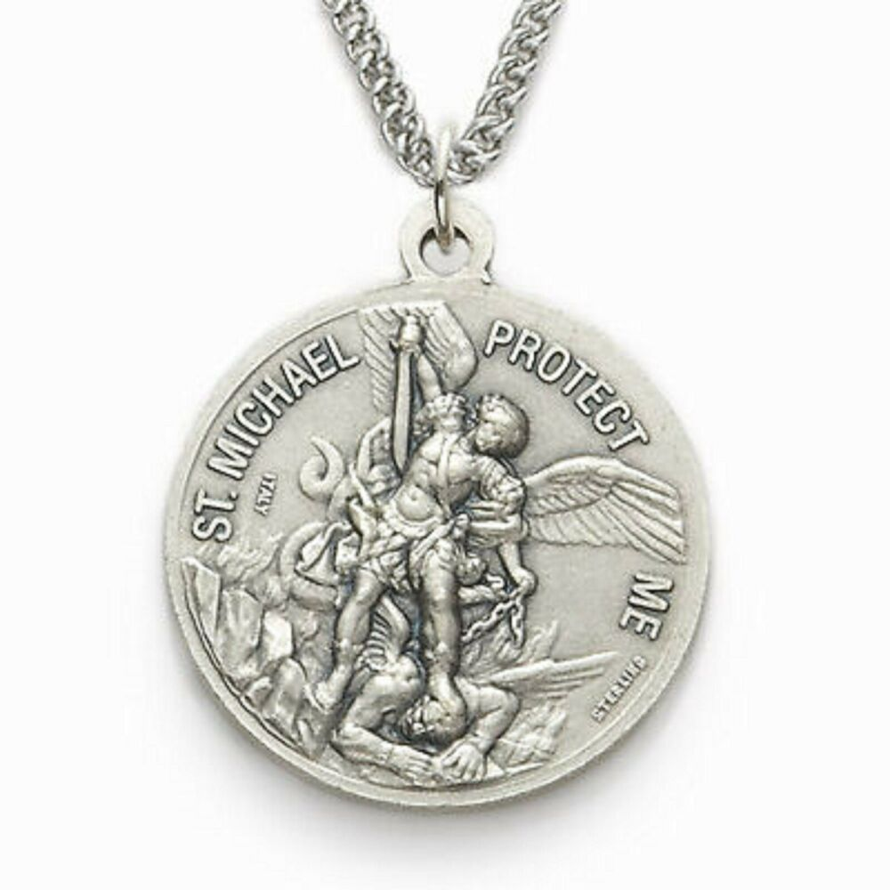 Mens Navy Saint Michael Protect Me Sterling Silver Medal