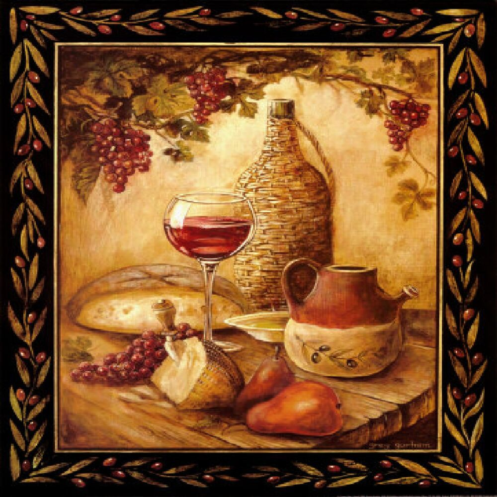Tuscan Wine amp Grapes I Italian Kitchen Theme Decor Square