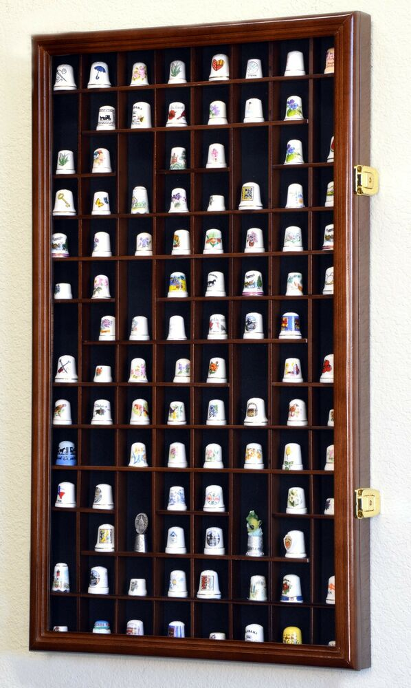 100 thimble miniatures display case cabinet holder wall for Grandi case cabinate