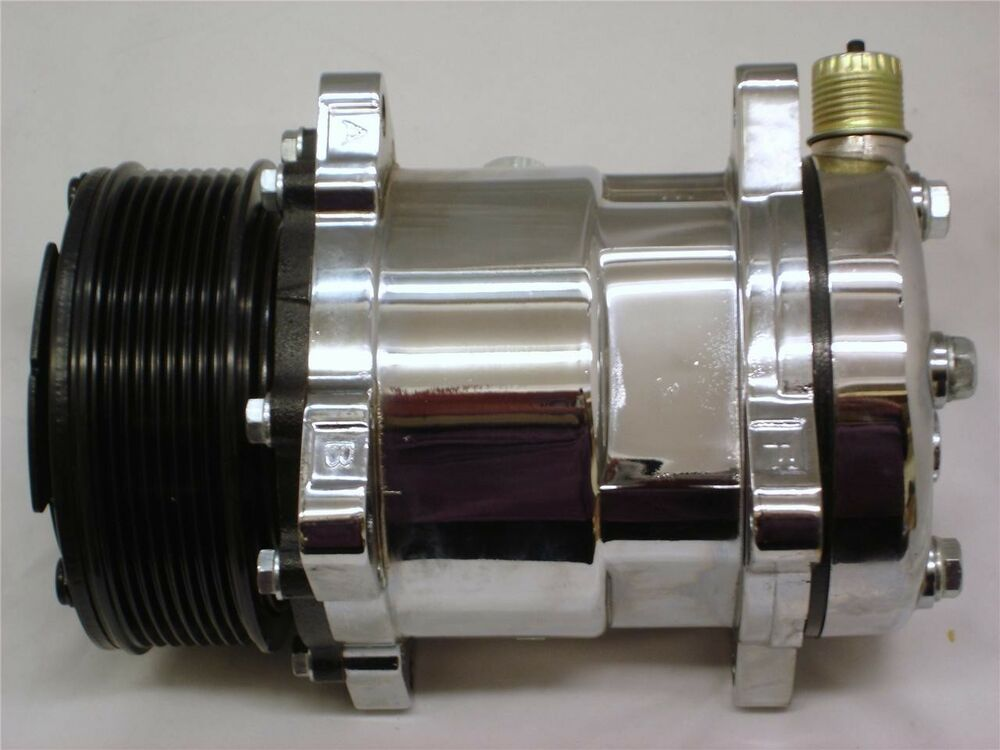 Street Rod Air Conditioners : Chrome serpentine belt air conditioning ac compressor