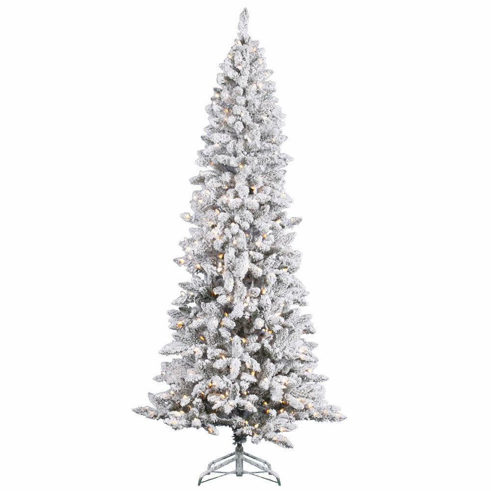 Pencil Drawing Of Christmas Tree: 7 FT HEAVY WHITE SNOW FLOCKED ~SLIM PENCIL CLEAR LIGHTS
