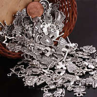 100Pc Tibetan Silver Mixed Charm Spacer Bead Loose Findings Crafts Fit Chain DIY