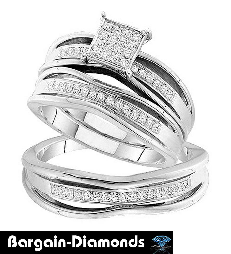 Diamond .30 Carat 3-ring Wedding Band Set Bridal Groom 925