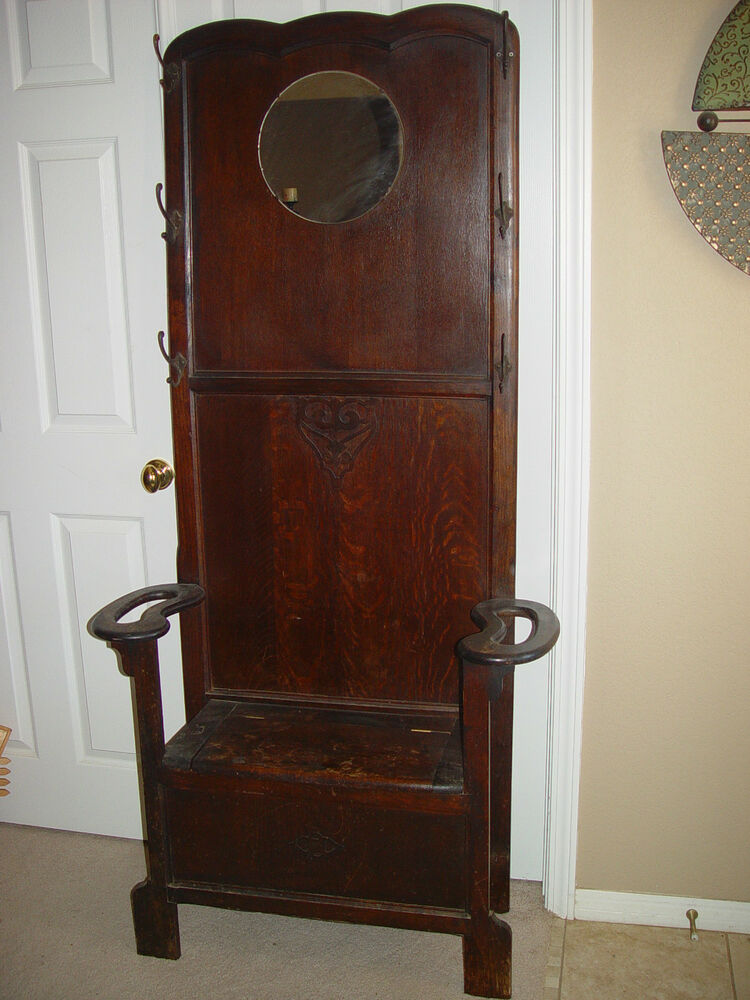 Antique Hall Tree With Bench Or Storage Area Lead Mirror Ebay