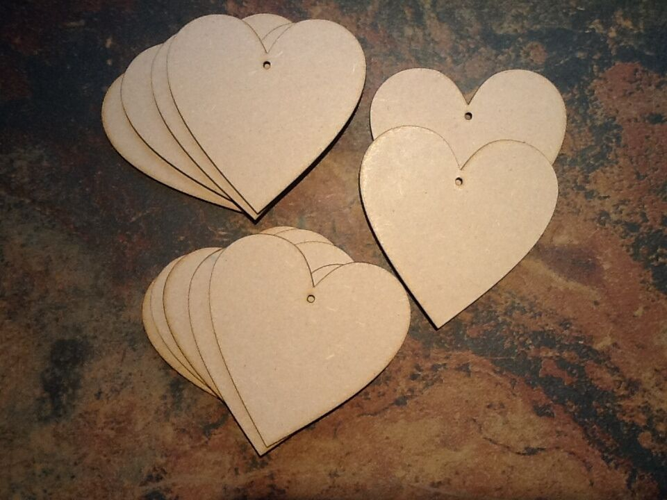 10x wooden heart shapes laser cut mdf craft 100mm x 100mm for Wooden hearts for crafts