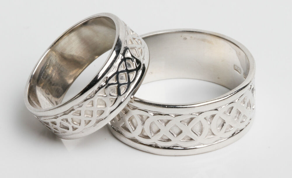 10k white gold handcrafted gold celtic knot design