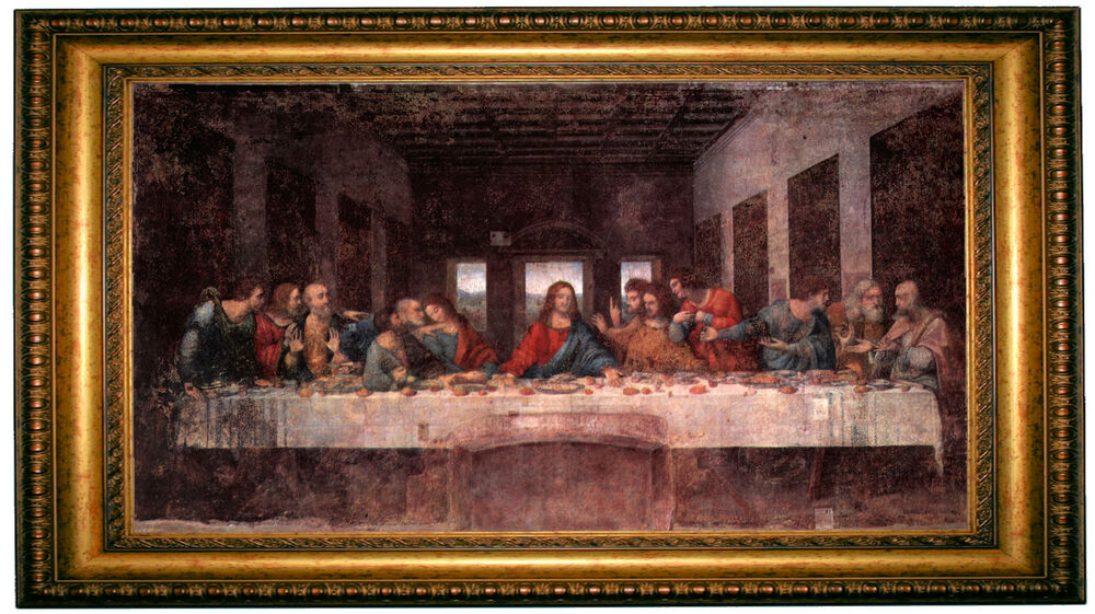 Da vinci the last supper gold framed giclee canvas art for Framed reproduction oil paintings