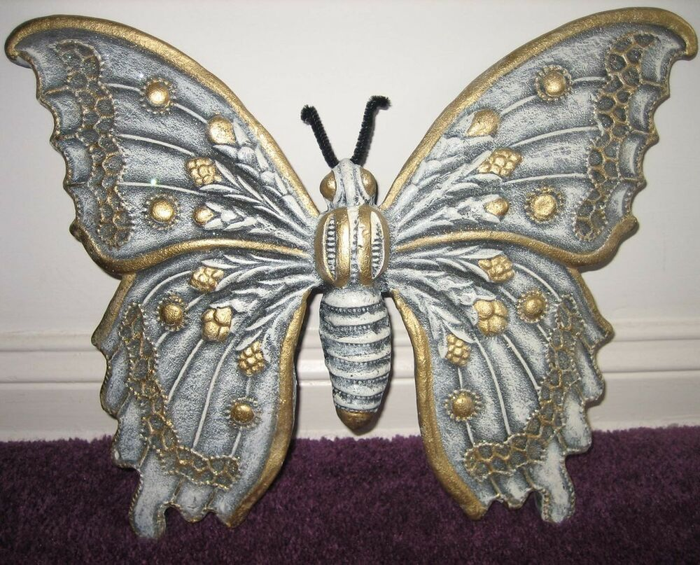 New Butterfly Wall Decor Ceramic Blue Gold Sparkly Ebay