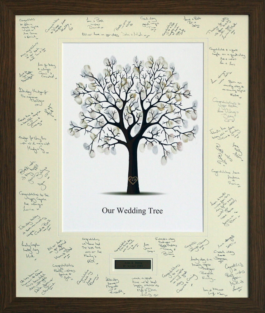 Wedding Guest Book Thumbprint Tree 185 250 Guests 22 X: Personalised Wedding Guest Signing Signature Frame With