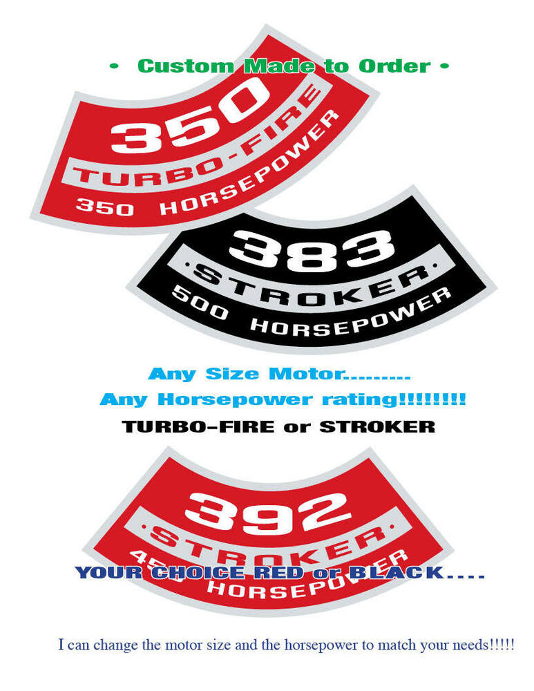 Custom Made Air Cleaners : Chevy turbo fire air cleaner decal any cid