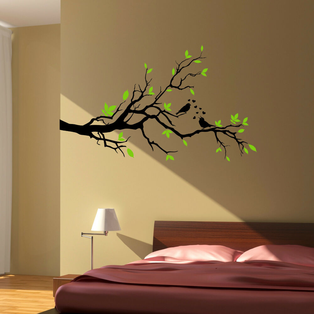 Tree branch love birds floral hearts wall art sticker for Wall art decals