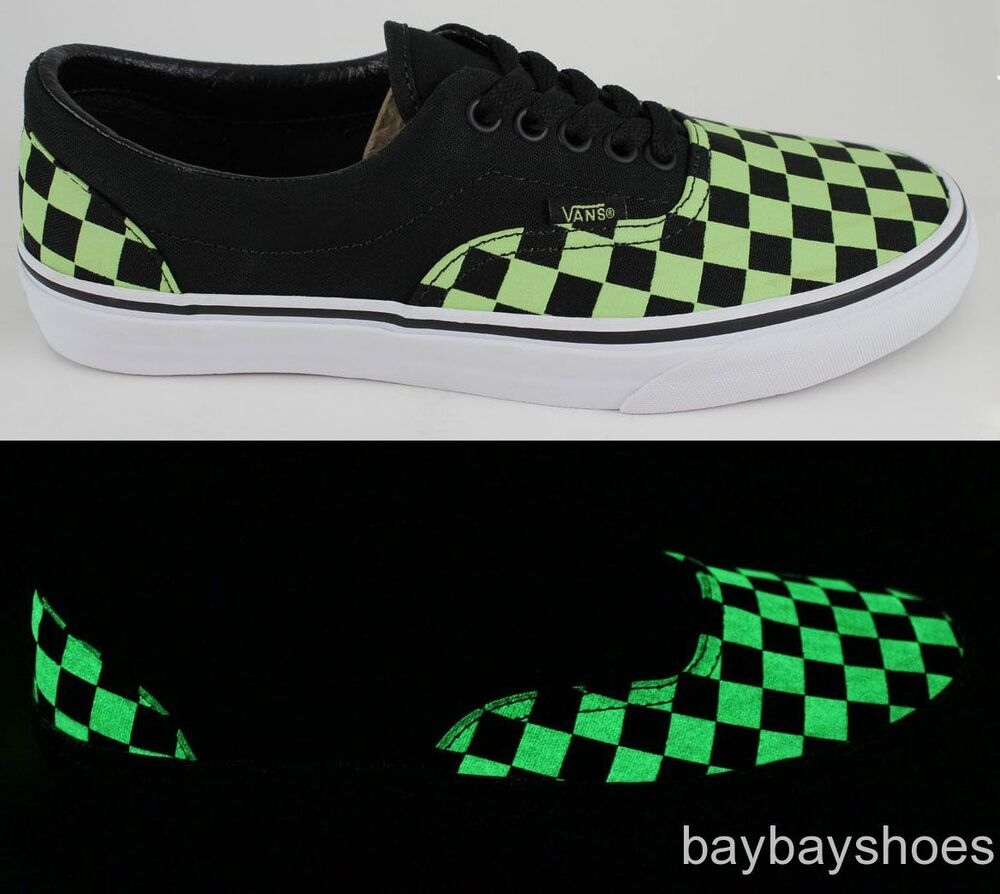 6b82bf482ed2 Details about VANS ERA BLACK GREEN CHECKERBOARD GLOW IN THE DARK CLASSIC  SKATE MENS ALL SIZES