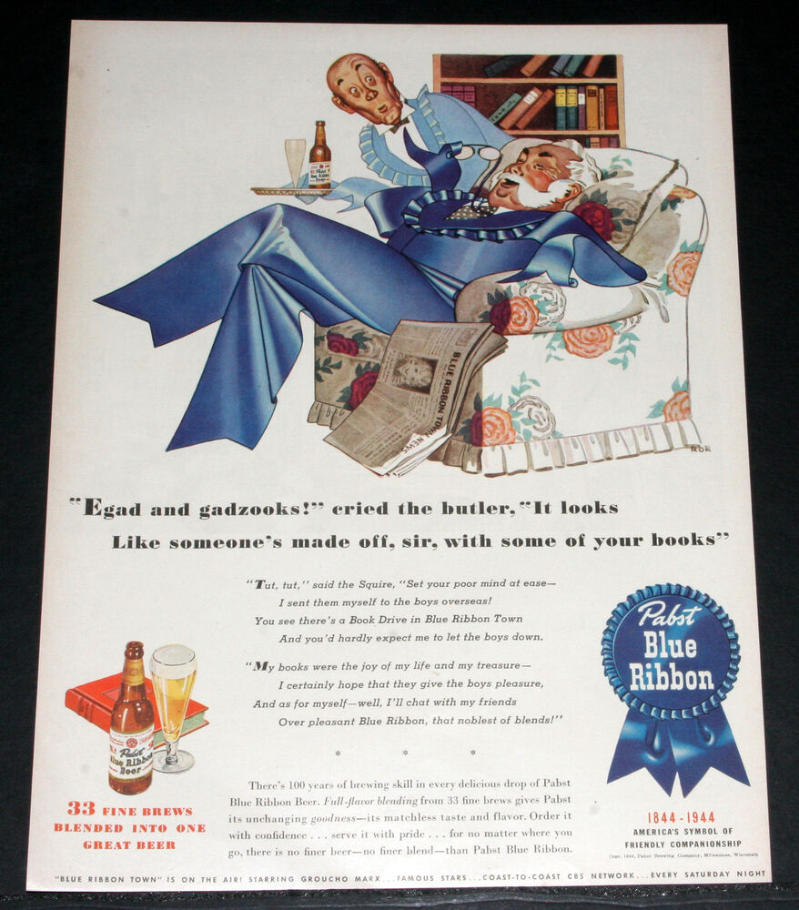 1944 OLD WWII MAGAZINE PRINT AD, PABST BLUE RIBBON BEER ...