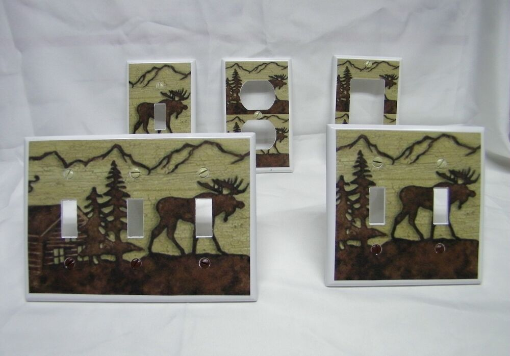Rustic moose silhouette cabin decor design light switch for Decor light switch
