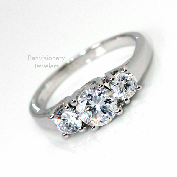 cz silver engagement ring 3 past present future