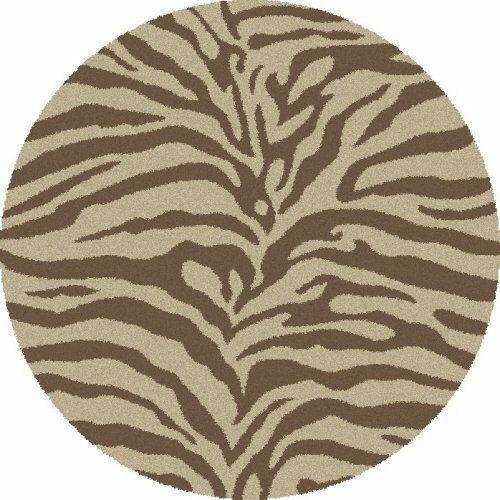 New Natural Zebra Print 7' Round Animal Print Shag Area