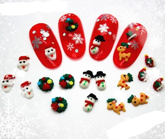 Christmas mini candy cane clay 3d nail art bows decoration for Decoration noel fenetre gel