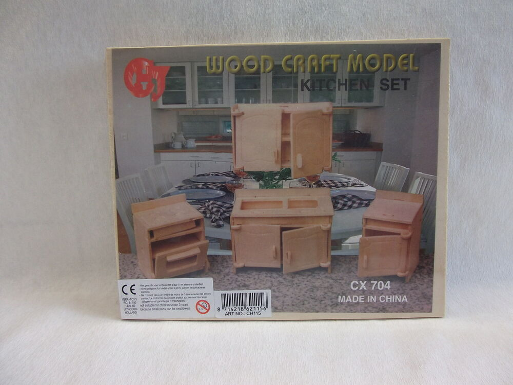 puppenstube m bel puppenm bel holzbausatz 3d puzzle neuware k che ebay. Black Bedroom Furniture Sets. Home Design Ideas