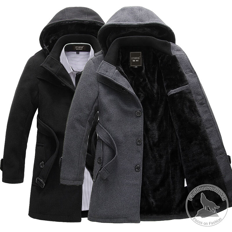 EHF1057 New Mens Winter Warm Hooded Long jacket coat ...   Mens Trench Coat With Hood