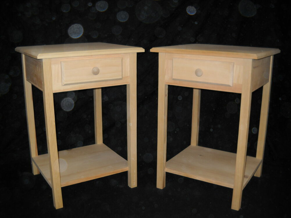 Set Of 2 Unfinished Pine End Table Night Stand W/Beveled Edge And Shelf |  EBay