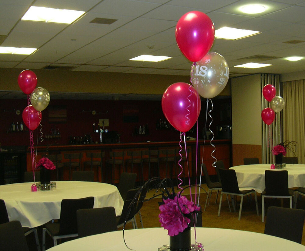 Hot pink silver birthday balloon cluster party kit for Balloon cluster decoration