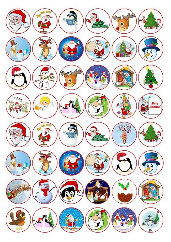 Christmas icons x48 cute fairy cup cake edible rice paper for Advanced molding and decoration s a de c v