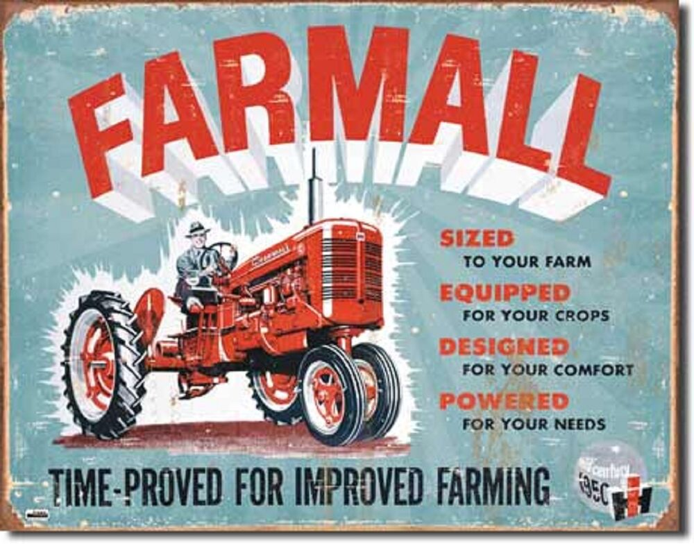 Ih farmall c tin sign antique tractor ad vtg garage metal for International harvester wall decor