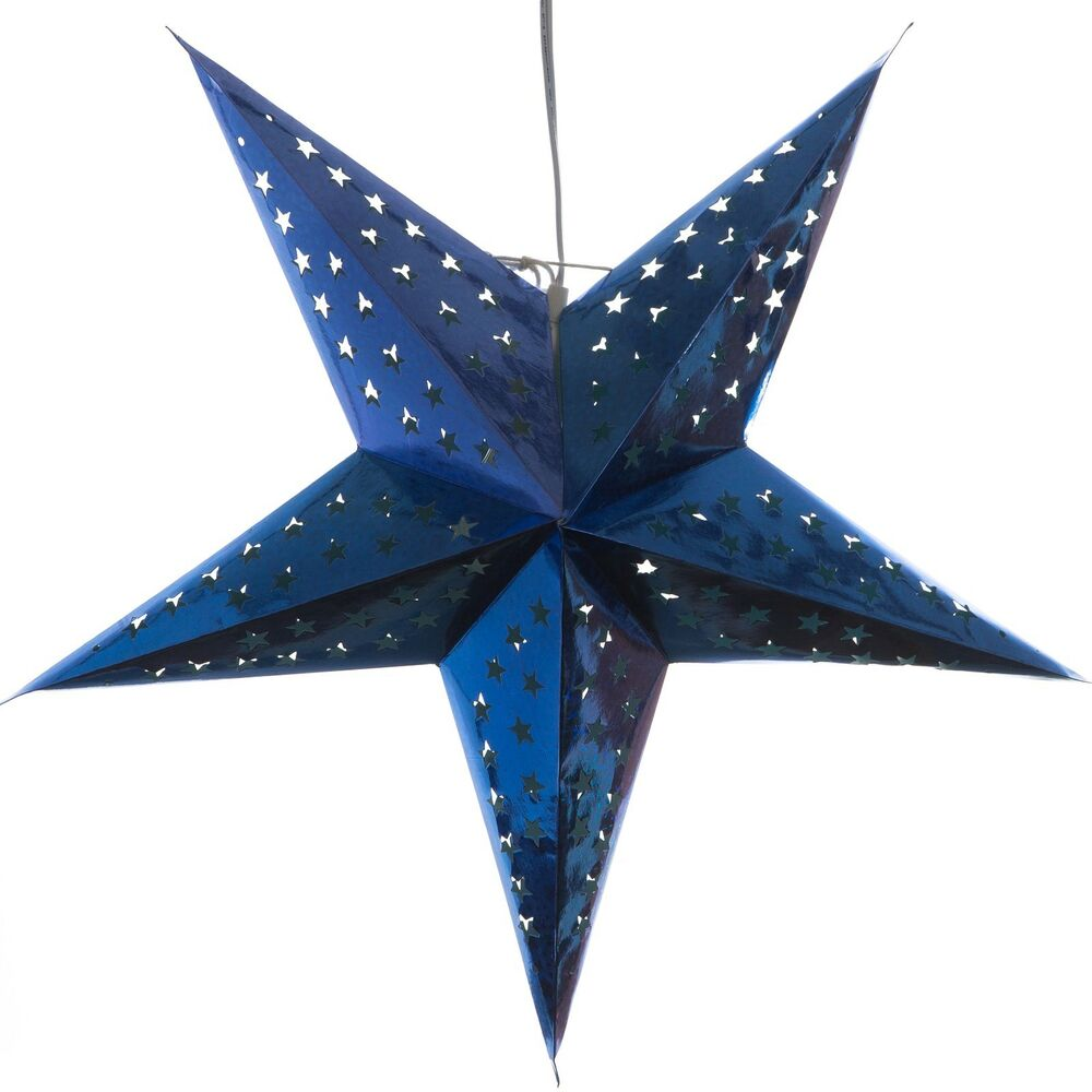 Hologram blue paper star light lamp lantern with 12 foot for Paper star lamp