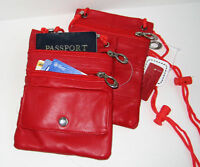 2 PASSPORT Zip Pocket Credit Card Leather ID Holder Neck Pouch Wallet TRAVEL NR