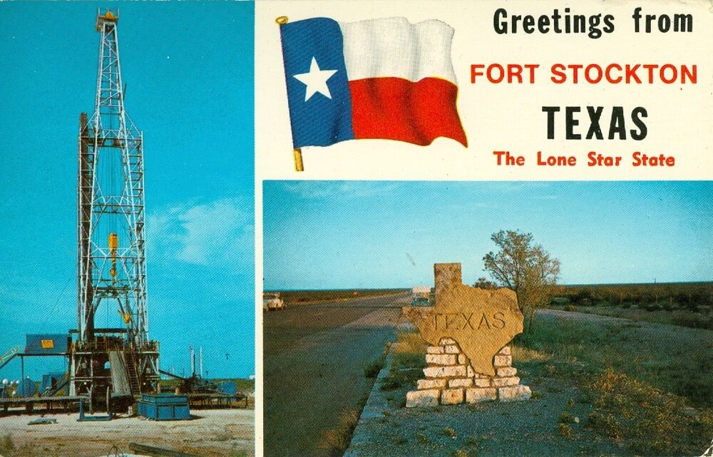 Fort stockton tx a lone star greetings from fort stockton ebay for Swimming pool in fort stockton tx