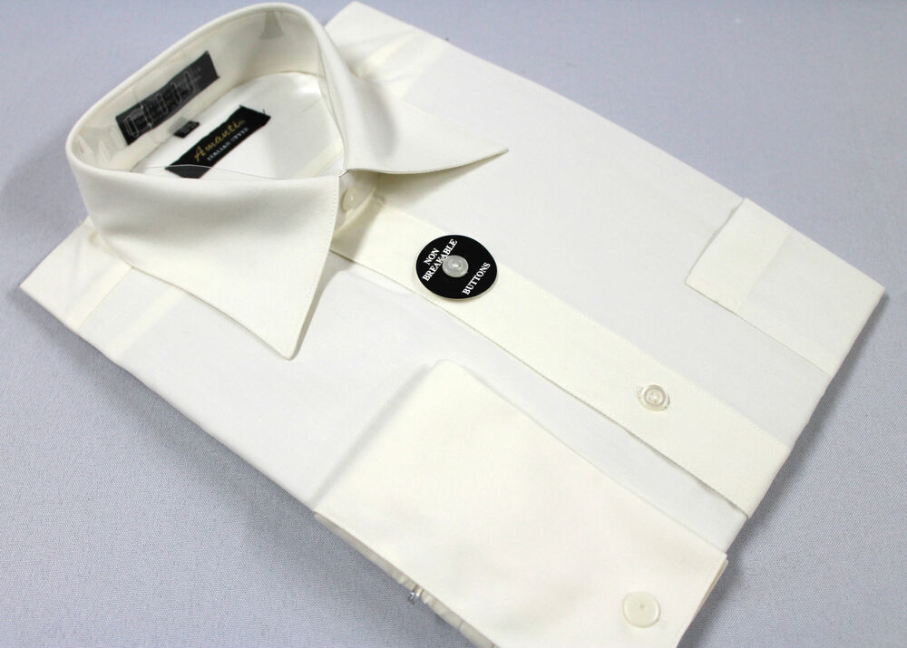 Mens french cuff dress shirt plain off white wrinklefree for Mens white french cuff shirt