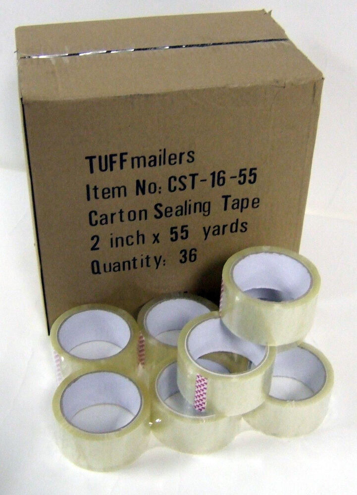 6 rolls carton sealing clear packing shipping box tape 1 6 mil 2 x 55 yards ebay. Black Bedroom Furniture Sets. Home Design Ideas