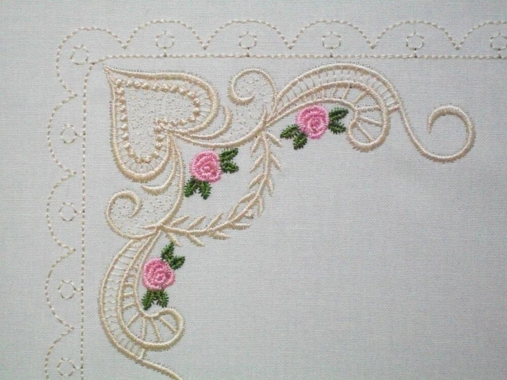 Antique lace roses embroidered quilt label customize for