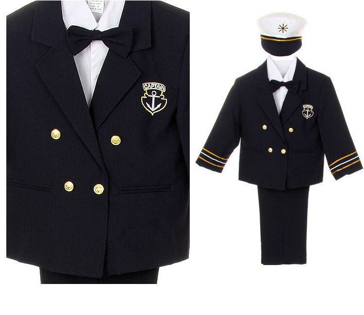 New Infant Boy Toddler Captain Navy Sailor Costume Outfits