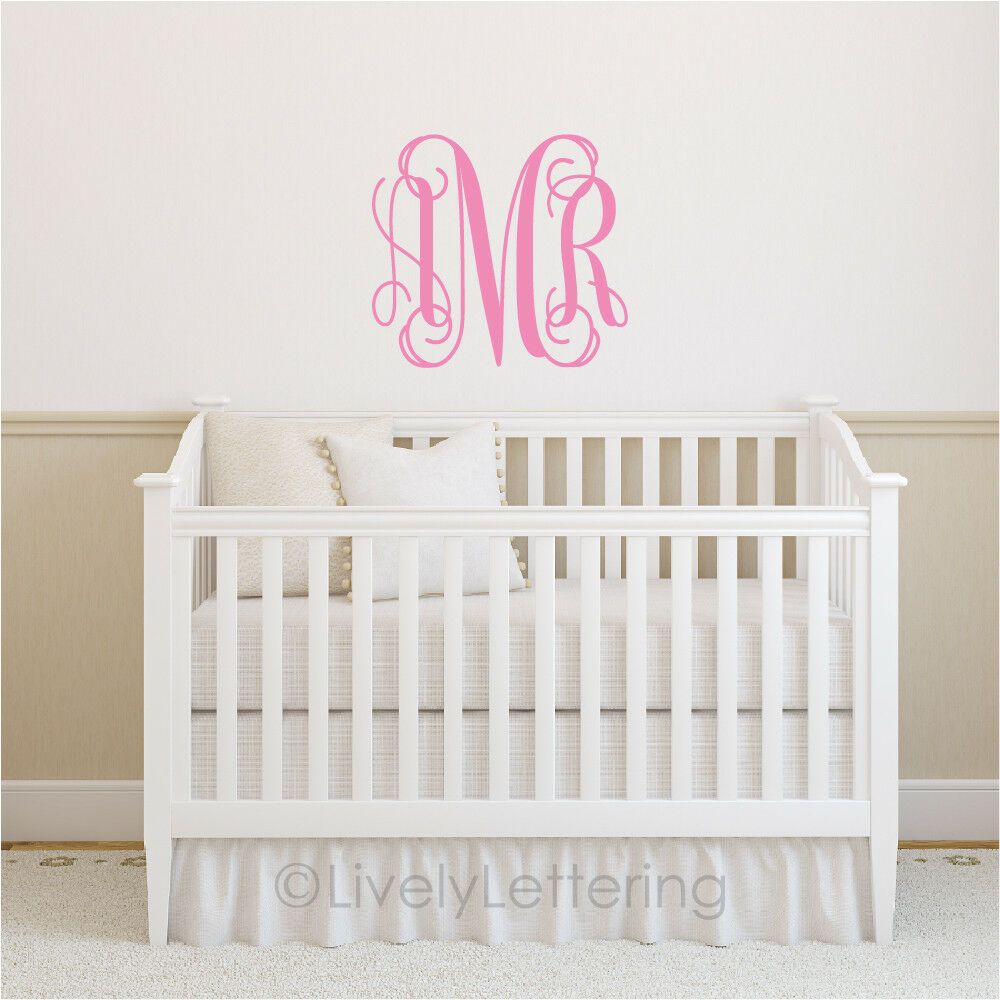 22x25 xl monogram wall decal initials vinyl lettering Wall letters decor