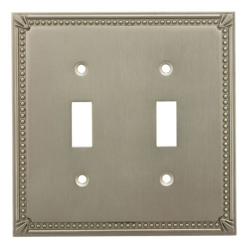 Satin nickel double toggle decorative wall switchplate cover 44031 sn ebay - Wall switch plates decorative ...