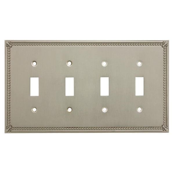 Satin nickel quadruple toggle decorative wall switchplate cover 44036 sn ebay - Wall switch plates decorative ...
