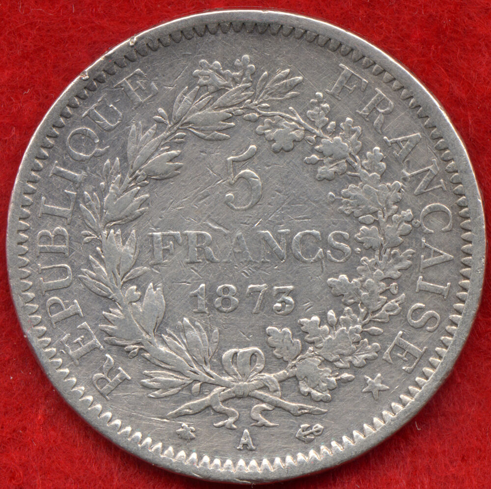 superb rare 5 francs 90 silver france coin 1873 a 25 gr vf ebay. Black Bedroom Furniture Sets. Home Design Ideas
