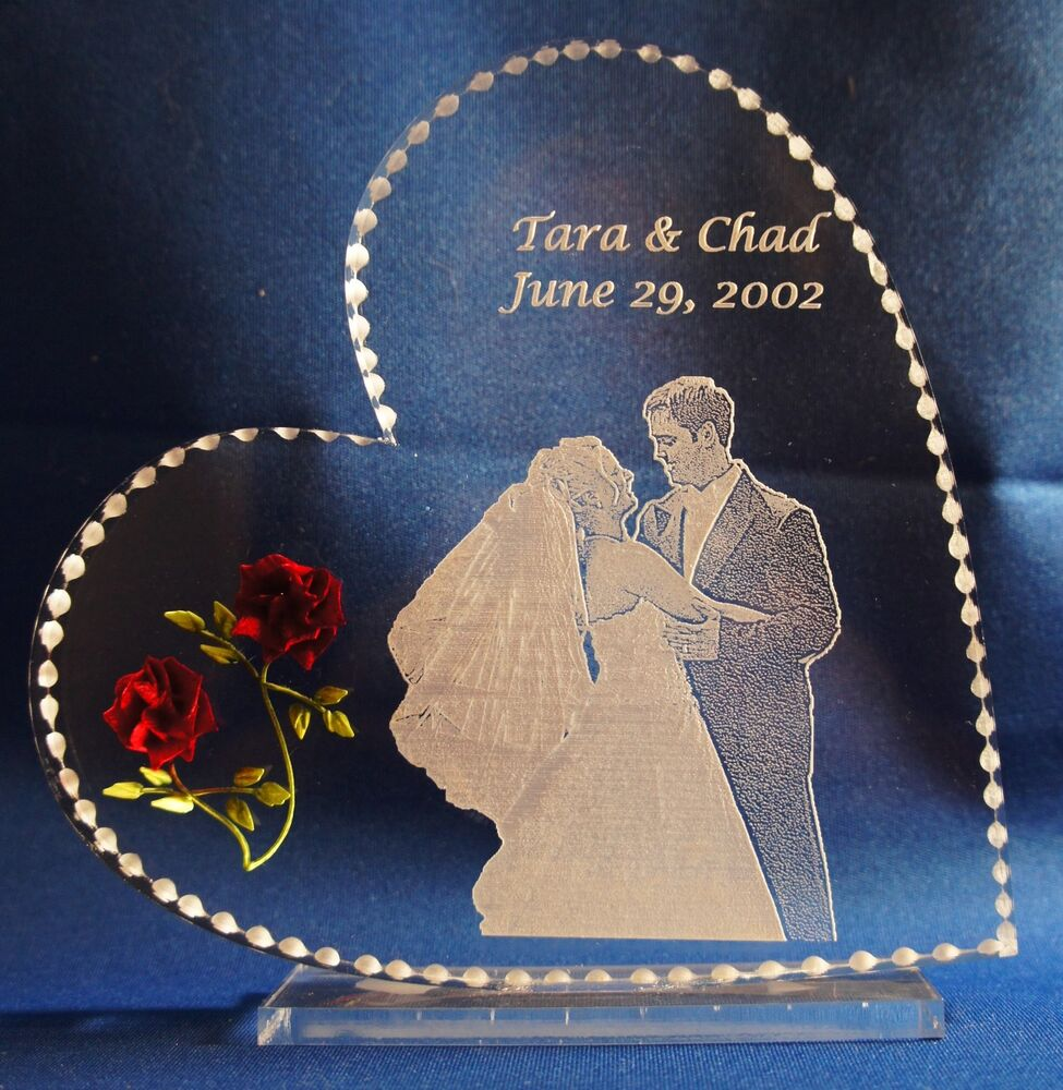 Engraved Glass Cake Toppers