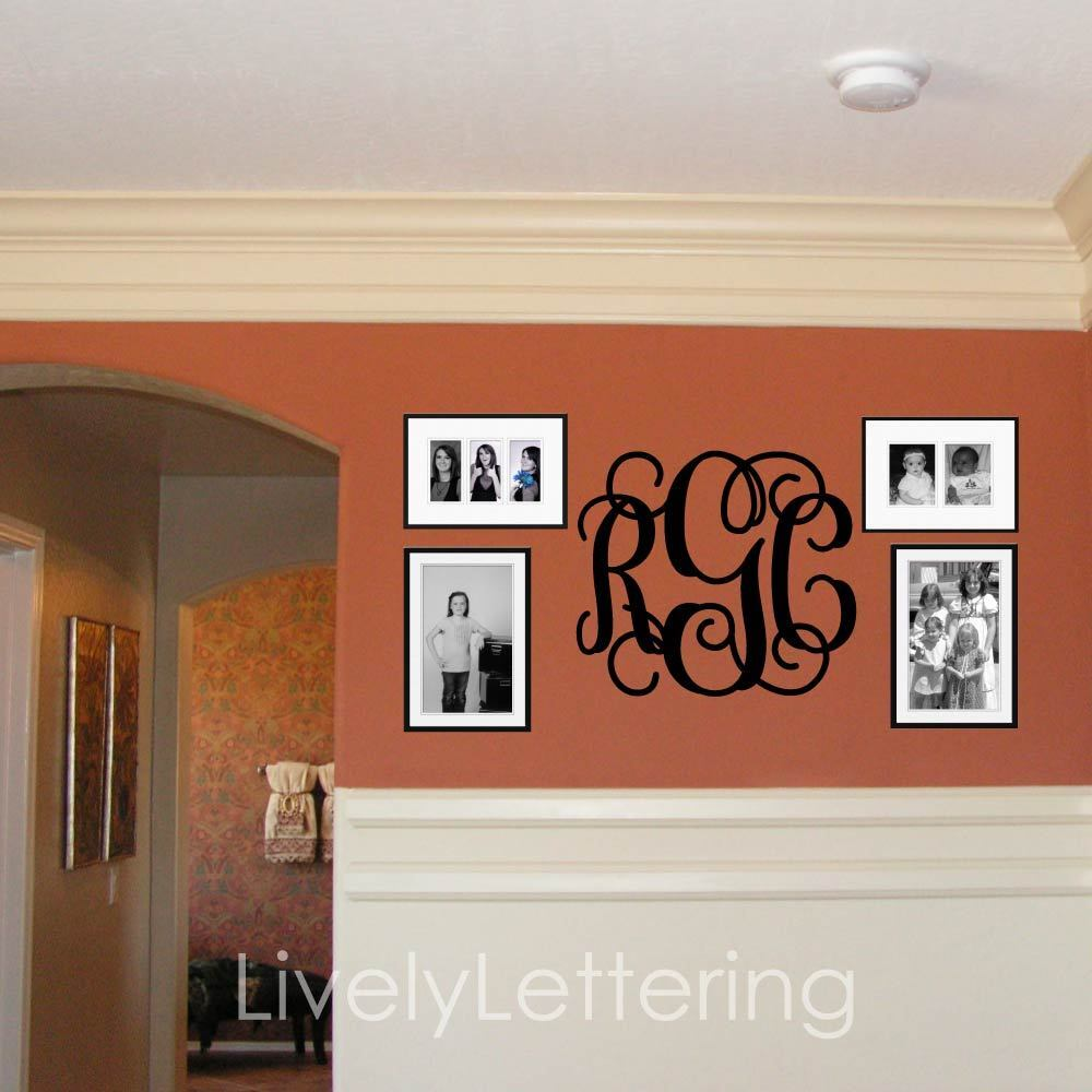 18x21 monogram wall decal custom initials vinyl wall. Black Bedroom Furniture Sets. Home Design Ideas