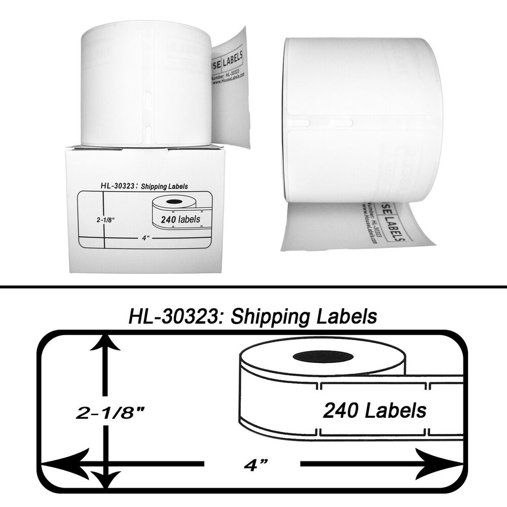6 Rolls of 240 Large Shipping Labels for DYMO LabelWriters 30323 – Large Mailing Labels